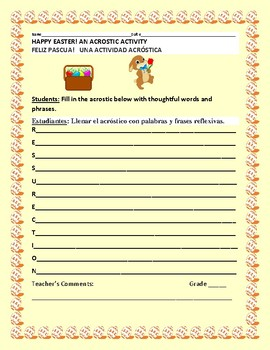 EASTER ACROSTIC ACTIVITY: ESL/ BILINGUAL SPANISH