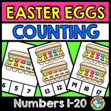 EASTER ACTIVITIES KINDERGARTEN (PAINTED EGGS COUNTING CLIP CARDS)