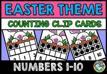 EASTER ACTIVITIES (TEN FRAMES CLIP CARDS) PRE K BUNNY 10 F