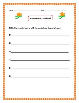 EASTER ACTIVITY: CREATING A THOUGHTFUL ACROSTIC ON PRAYER