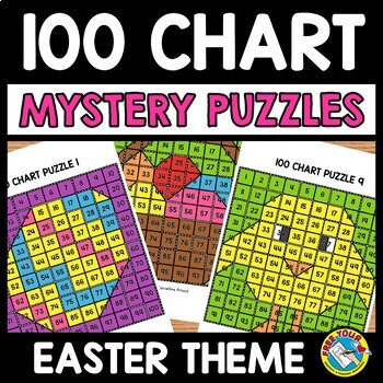 EASTER ACTIVITY KINDERGARTEN, 1ST GRADE (100 CHART MYSTERY PICTURE PUZZLES)