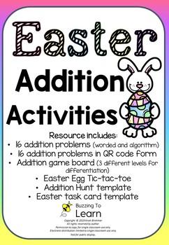 EASTER Addition Activites - task cards & games