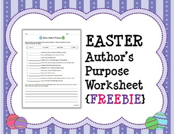 EASTER Author's Purpose Worksheet {FREEBIE}
