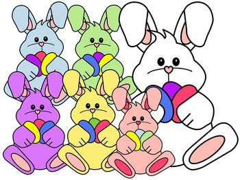EASTER BUNNY CLIP ART * COLOR AND BLACK AND WHITE