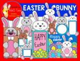 EASTER BUNNY CLIPART SET - CARDS - FRAMES - TOPPERS - PAPER BAG PUPPET