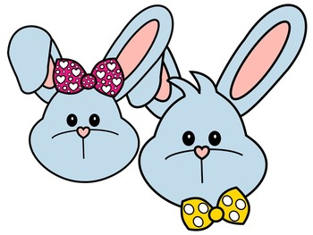 EASTER BUNNY FACE * BLUE AND BLACK AND WHITE
