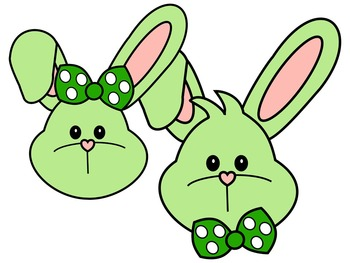 EASTER BUNNY FACE * GREEN AND BLACK AND WHITE