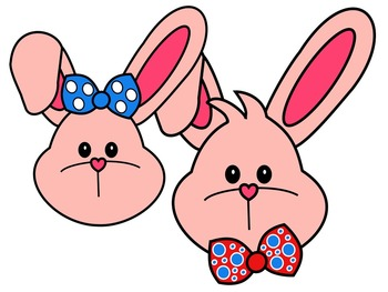 EASTER BUNNY FACE * PINK AND BLACK AND WHITE