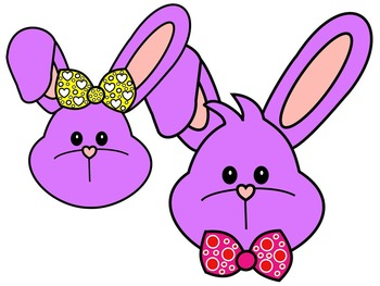 EASTER BUNNY FACE * PURPLE AND BLACK AND WHITE