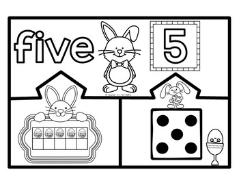 EASTER BUNNY Math Number Puzzles 1 ? 10 - Ten Frames and Dice
