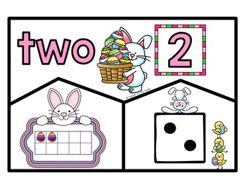 EASTER BUNNY Math Number Puzzles 1 - 10 - Ten Frames and Dice