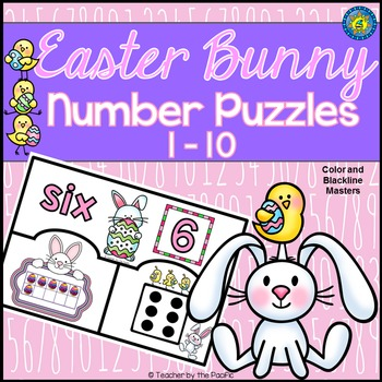 EASTER BUNNY Math Number Puzzles 1 – 10 - Ten Frames and Dice