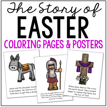 EASTER Bible Story Coloring Pages and Posters, Craft Activity, The Resurrection