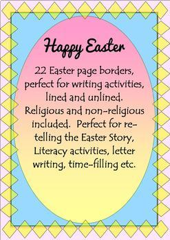 EASTER Borders Pages for Writing FREE!!! Religious Educati
