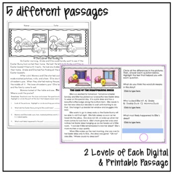 EASTER CLOSE READING MYSTERY PASSAGES