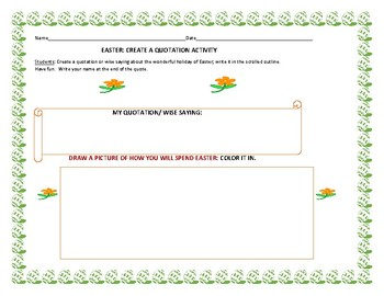 EASTER: CREATE A QUOTATION ACTIVITY /with art portion