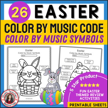 Music Coloring Sheets: 26 Easter Color by Notes and Music Symbols