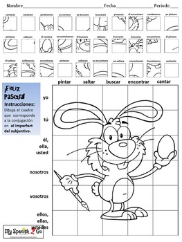 EASTER EDITION!  SPANISH IMPERFECT SUBJUNCTIVE Draw on Grid