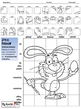 EASTER EDITION!  SPANISH PRESENT TENSE Draw on Grid