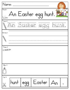 EASTER EGGS Sentence Building LEVEL AA