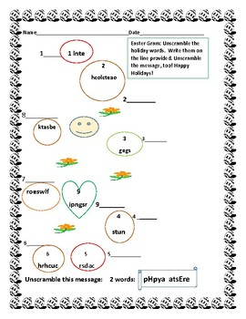 EASTER GRAM:   A  holiday- vocabulary deciphering activity