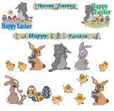 EASTER: Happy Easter banners and bunny artwork
