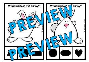 EASTER MATH KINDERGARTEN CENTER (BUNNY SHAPES RECOGNITION CLIP CARDS)