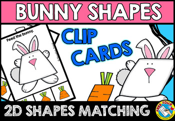 EASTER MATH CENTER (FEED THE BUNNY SHAPES RECOGNITION CLIP CARDS)