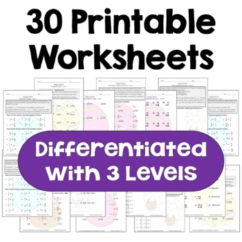 Easter Math Worksheet Bundle (Differentiated with 3 Levels)