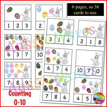 EASTER Math Center Activity Counting 0-10 Number Recognition and Easter Eggs