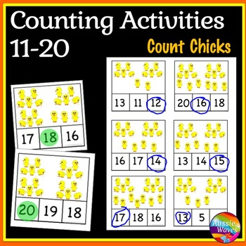 EASTER Math Center Activity Counting Numbers 11-20 Number Recognition