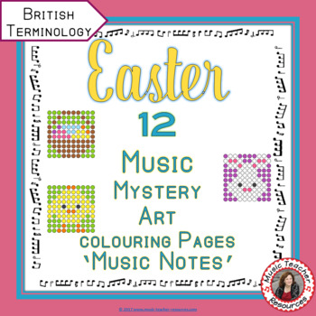 EASTER Music Colouring Sheets: 12 Music Colouring Pages: Music Mystery Art