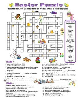 EASTER PUZZLE - CROSSWORD QUIZ with Clues/Definitions & Word Bank
