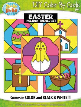 EASTER Quilt Color By Code Clipart {Zip-A-Dee-Doo-Dah Designs}