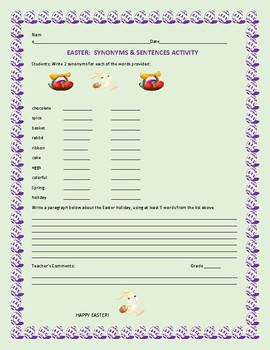 EASTER SYNONYMS & SENTENCES ACTIVITY