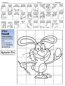 EASTER: Spanish Nosotros Commands-Draw on Grid