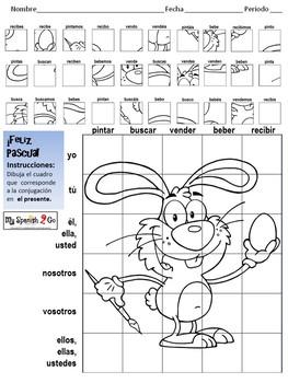 EASTER: Spanish Present Tense -ar/-er/-ir Verbs-Draw on Grid