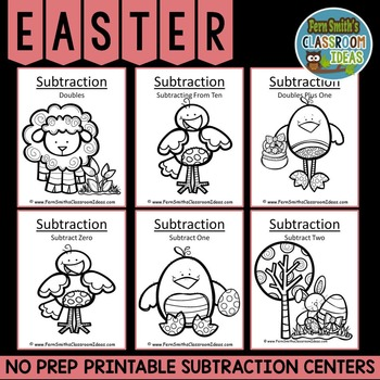 Easter Math Six Quick and Easy to Prep Subtraction Center Games Dollar Deal