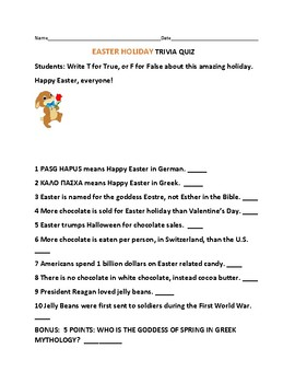 EASTER TRIVIA QUIZ: FOR STAFF & STUDENTS!