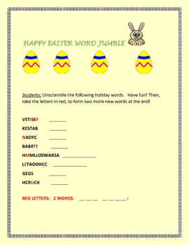 EASTER WORD JUMBLE/ WITH ANSWER KEY