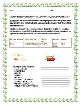 EASTER WORD MATCH ACTIVITY: ESL/BILINGUAL SPANISH