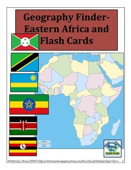 MIDDLE SCHOOLS- No Prep EASTERN AFRICA NATION FIND and FLASH CARDS