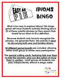 EASY AS PIE IDIOMS BINGO