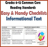 EASY Common Core Reading Standards Checklist (6-12): Informational Text