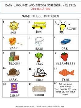 EASY LANGUAGE & SPEECH SCREENER (ELSS 2) Second Grade