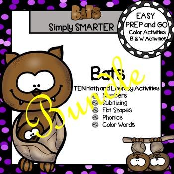 EASY PREP Bat Math and Literacy Center Activities Bundle