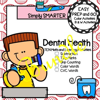 EASY PREP Dental Health Math and Literacy Center Activities Bundle