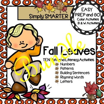 EASY PREP Fall Leaves Math and Literacy Center Activities Bundle
