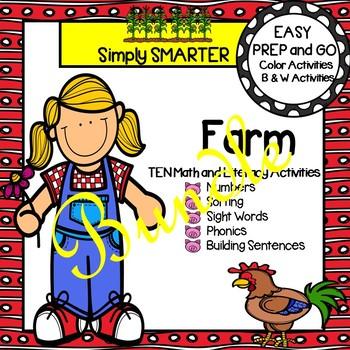 EASY PREP Farm Math and Literacy Activities Bundle