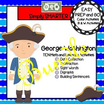 EASY PREP George Washington Math and Literacy Center Activities Bundle